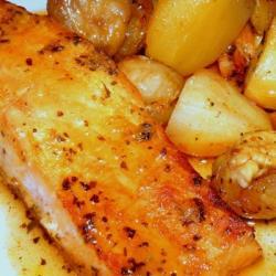 Longes de saumon au miel et aux châtaignes