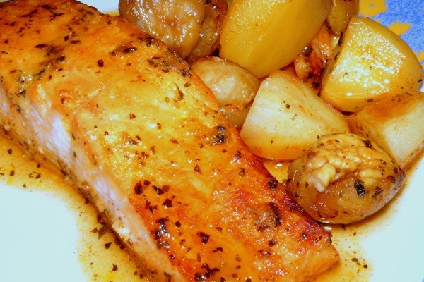 Lombes de saumon au miel et aux châtaignes