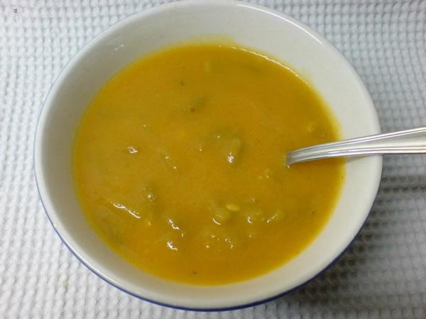 Soupe de potiron et haricots verts