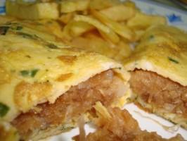 Omelette farcie d'alheira de Mirandela