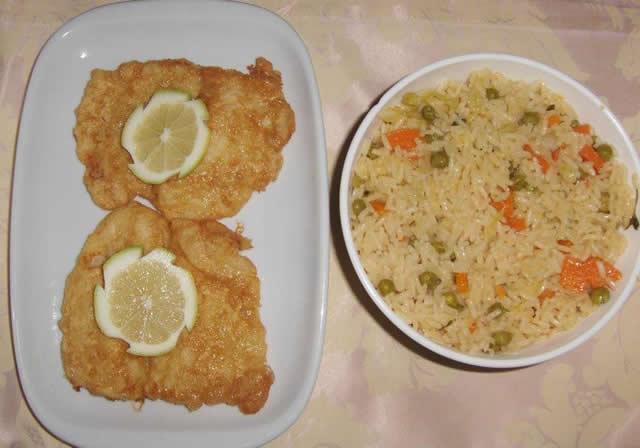 Filets de poisson avec riz printemps