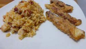 Filets de poulpe avec du riz du même