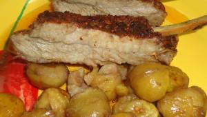 Entrecôte de porc au four avec châtaignes
